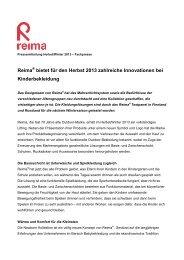 Reima bietet für den Herbst 2013 zahlreiche Innovationen bei ...