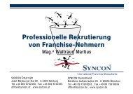 Professionelle Rekrutierung von Franchise-Nehmern - Syncon
