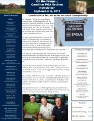 On the Fringe... Carolinas PGA Section Newsletter September 5, 2012