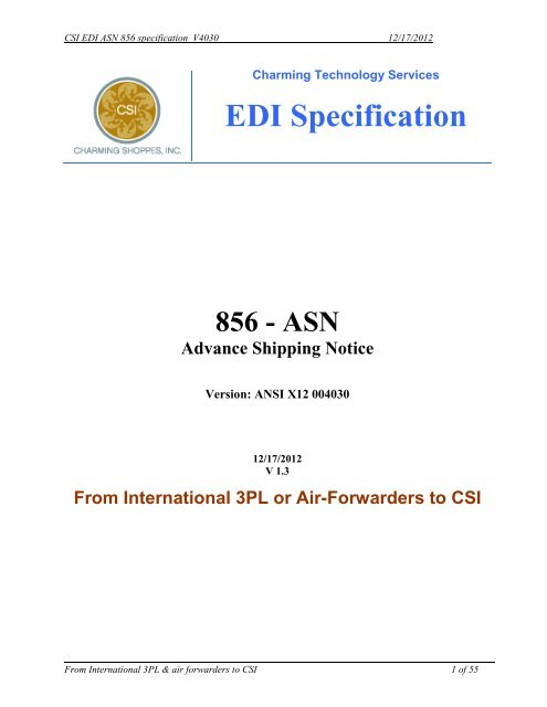 3 4 2 EDI 856 - Advance Shipping Notice (ASN) - CSI Vendor Manual