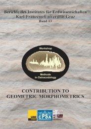 CONTRIBUTION TO GEOMETRIC MORPHOMETRICS ...