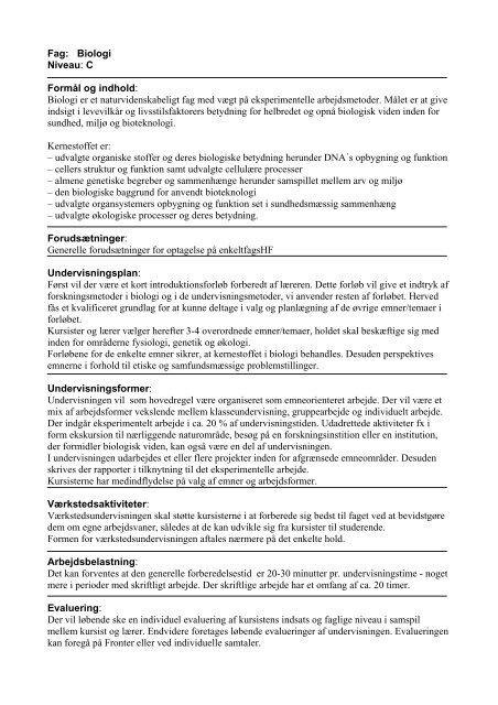 Fag: Biologi Niveau: C Formål og indhold: Biologi er et ... - KVUC