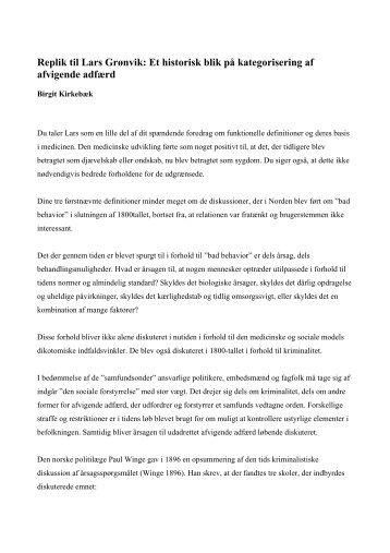 Replik til Lars Grønvik: Et historisk blik på kategorisering af ...