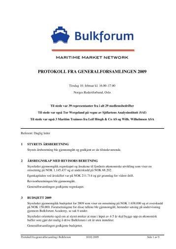 Referat fra Generalforsamling 2009 - Bulkforum