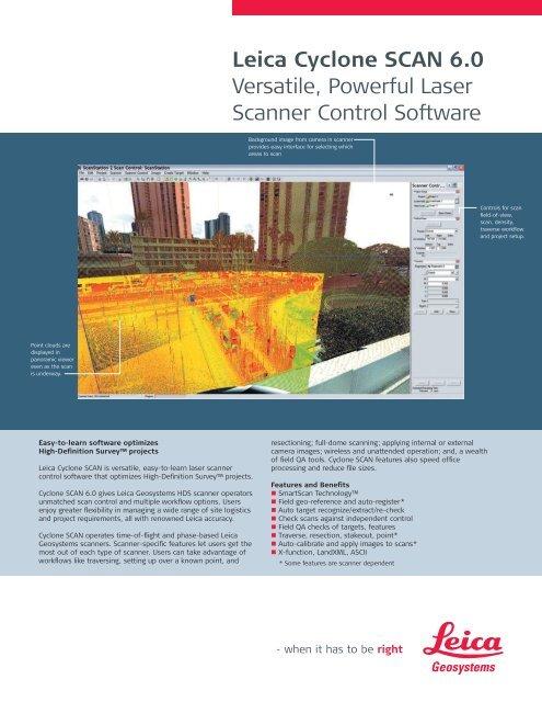 Leica Cyclone SCAN 6.0 Versatile, Powerful Laser Scanner Control ...