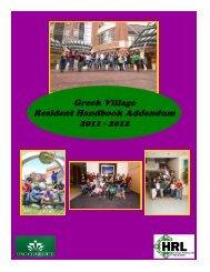 2011-2012 Greek Village Resident Handbook Addendum