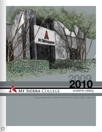 academic catalog - Mt. Sierra College