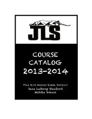 course catalog - Jane Lathrop Stanford Middle School - Palo Alto ...