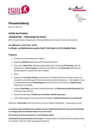 Presseeinladung - Anne Frank Zentrum