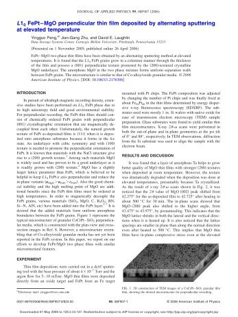 L10 FePt?MgO perpendicular thin film deposited by alternating ...