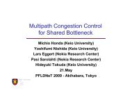 Multipath Congestion Control for Shared Bottleneck - Michio Honda