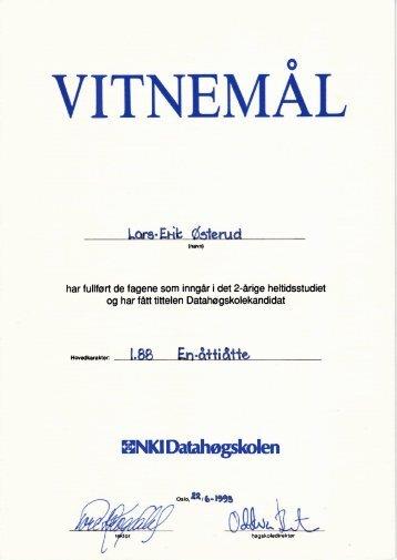 Vitnemål NKI Datahøgskolen 2-årig heltid - Lars-Erik Østerud
