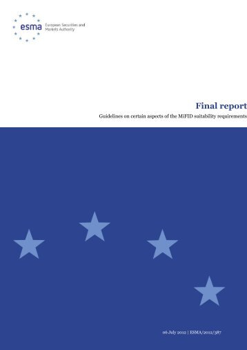 Guidelines on certain aspects of the MiFID ... - Esma - Europa