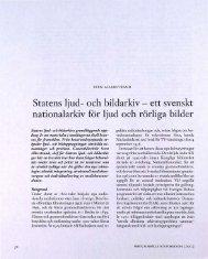 Statens ljud- och bildarkiv- ett svenskt nationalarkiv för ... - Visa filer