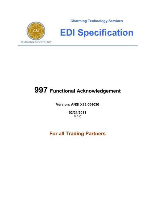 3 1 2  EDI 997 - Acknowledgement - CSI Vendor Manual