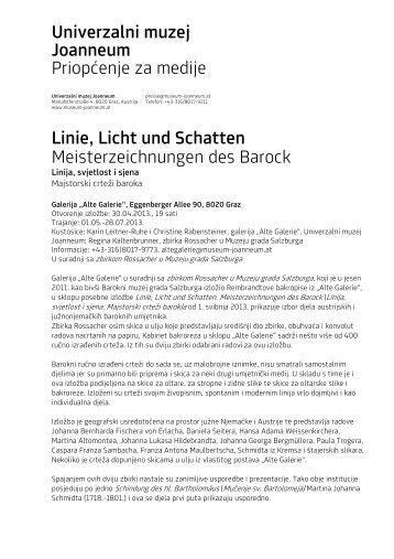 Univerzalni muzej Joanneum Priopćenje za medije Linie, Licht und ...