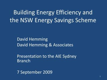 Building Energy Efficiency and the NSW Energy Savings Scheme