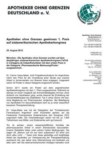 AoG auf südamerikanischen Apothekerkongress ausgezeichnet