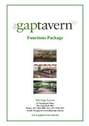 Functions Package The Gap Tavern