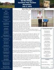 On the Fringe... Carolinas PGA Section Newsletter July 3, 2012