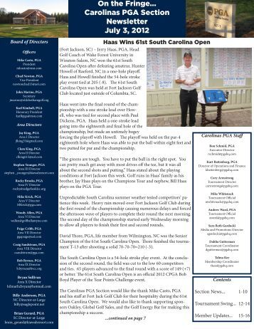 On the Fringe... Carolinas PGA Section Newsletter July 3, 2012