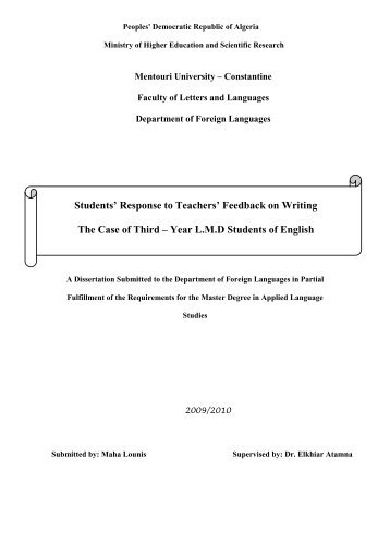 Students' Response to Teachers' Feedback on Writing The Case of ...