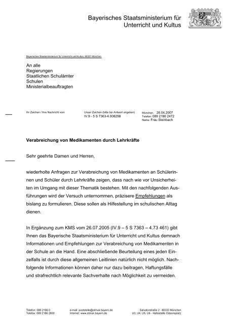 Verabreichung von Medikamenten durch Lehrkräfte - Staatliche ...
