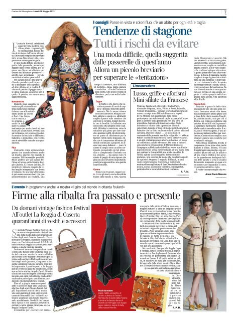 LO STILE OLTRE LE TENDENZE - Corriere del Mezzogiorno ...