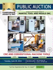CNC AND CONVENTIONAL MACHINE TOOLS - Corporate Assets Inc.