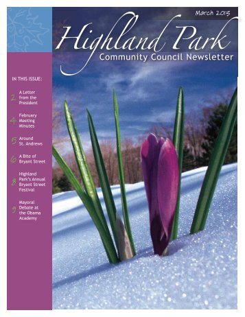 HPCC Monthly Newsletter March 2013 - Highland Park
