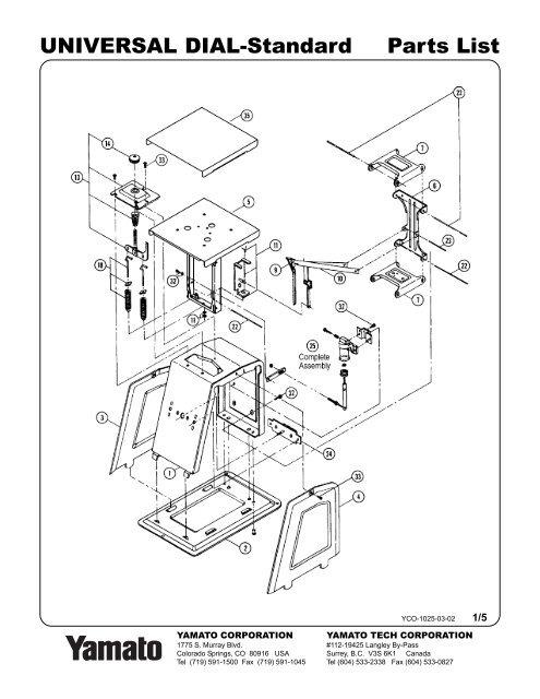 Parts List Universal Dial