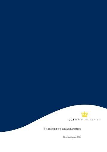 Betænkning om konkurskarantæne - Justitsministeriet - Publikationer