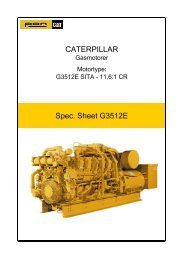 Spec. Sheet G3512E CATERPILLAR - Pon / Cat