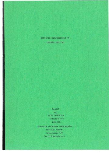 BOTANISKE UNDERSØGELSER PA JAMESON lAND 1982 Rapport ...