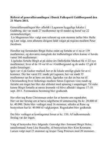 Generalforsamling 2011 - Dansk Folkeparti - Guldborgsund