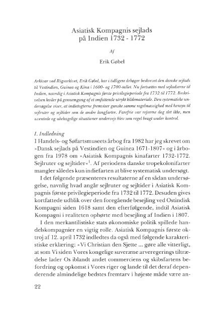 Asiatisk Kompagnis sejlads på Indien 1732- 1772 - Handels- og ...