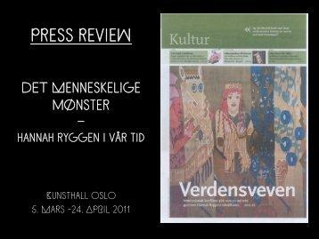 press review - Kunsthall Oslo