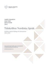 Tidskriften Nordiska Språk - Vaasan yliopisto
