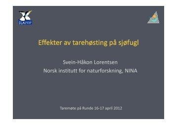 Svein Håkon Lorentsen Sjøfugl og tareskog Runde 16-17 april 2012