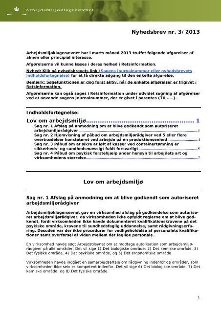 Nyhedsbrev nr. 3/2013 Lov om arbejdsmiljø ...