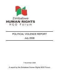 POLITICAL VIOLENCE REPORT July 2008 - Zimbabwe Human Rights NGO Forum