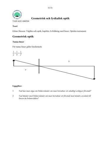 b745de632983 Geometrisk och fysikalisk optik Geometrisk optik