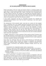 MEMORANDUM ON THE DEVELOPMENT OF AQUACULTURE IN ...