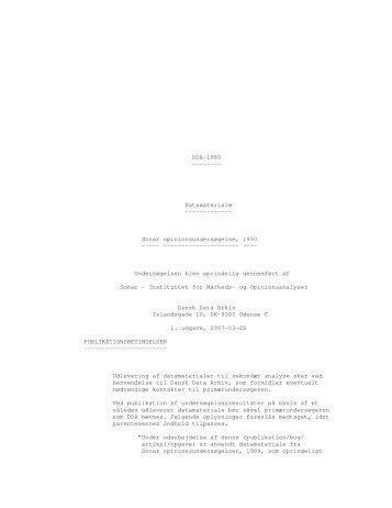 Sonar opinionsundersøgelse, 1990 - DDA Samfund - Dansk Data ...