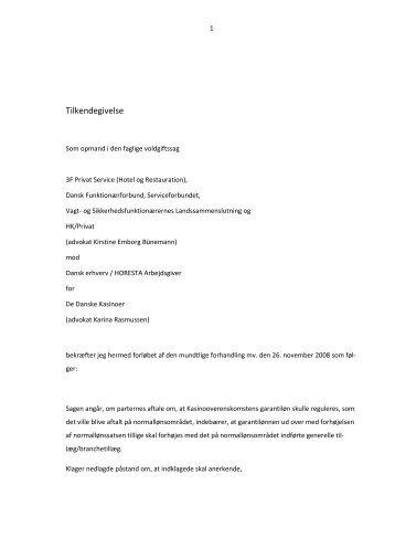 Tilkendegivelse - Arbejdsretten