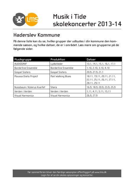 Haderslev Kommune - Levende Musik i Skolen