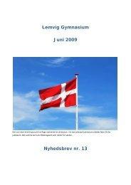 Lemvig Gymnasium Juni 2009 Nyhedsbrev nr. 13