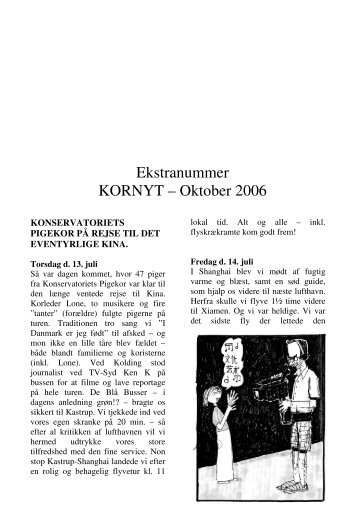 Ekstranummer KORNYT – Oktober 2006 - Konservatoriets Pigekor