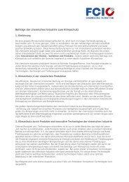 Beiträge der chemischen Industrie zum Klimaschutz - FCiO
