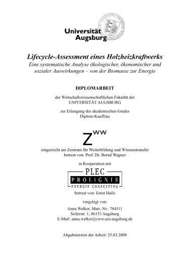 Lifecycle-Assessment eines Holzheizkraftwerks - PROLiGNIS ...